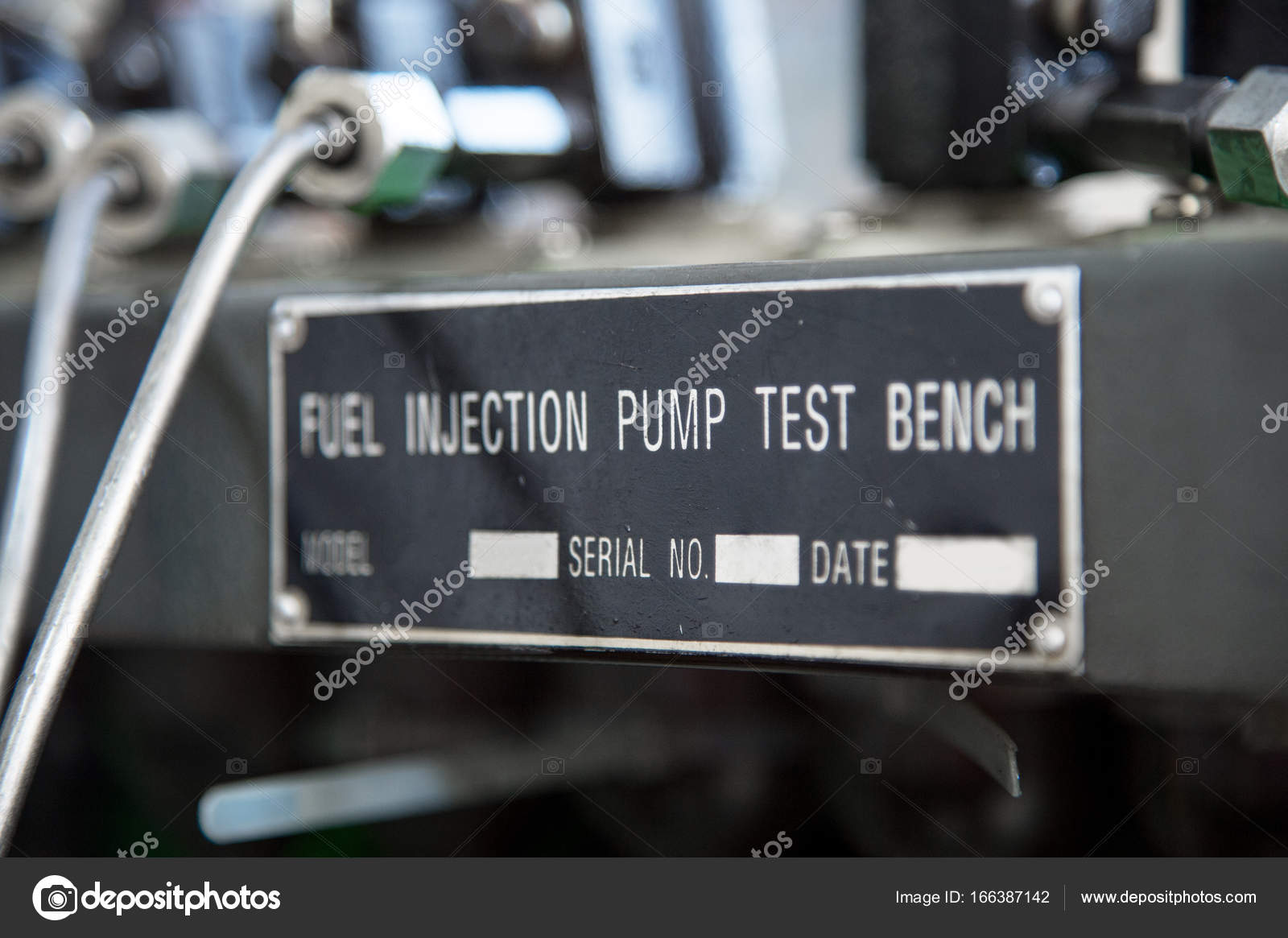 Close-up high pressure diesel fuel pump test bench — Stock Photo