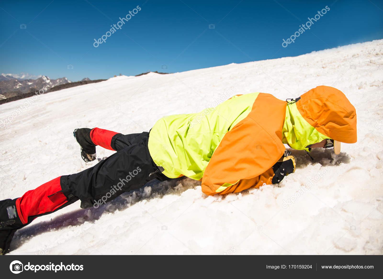 Leren te glijden naar behoren op een helling of gletsjer met een