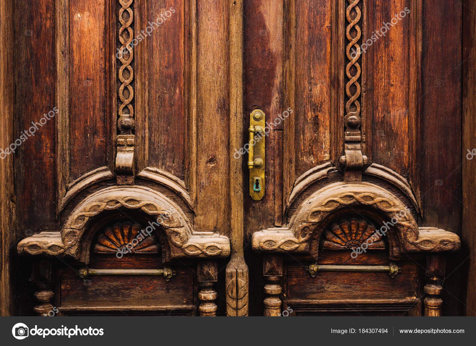 Fondo Vintage Elementos De Una Vieja Puerta De Madera