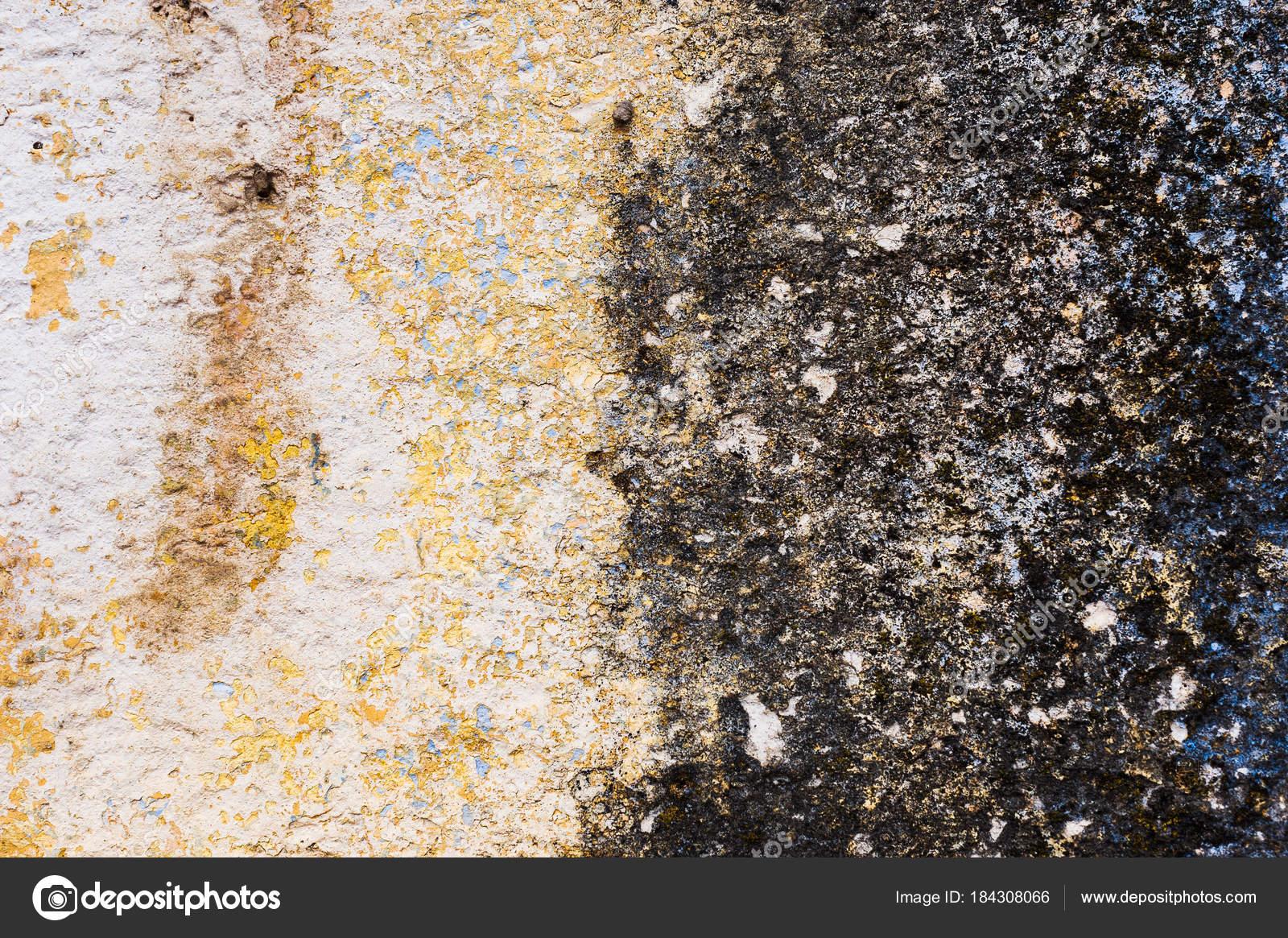 Weiss Gelb Glatt Hintergrund Einer Gefliesten Wand Mit Spuren Von  Feuchtigkeit In Form Von Einer Schwarzen Pilz Zone. Die Chipping Stücke Des  Kitt Verbergen ...