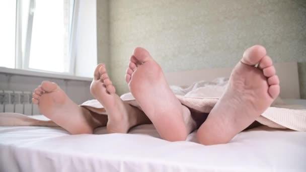 Detailní záběr nohou mladého páru vyčnívajícího zpod přikrývek v ložnici. Holé nohy hladí navzájem zabývající se úpravou.