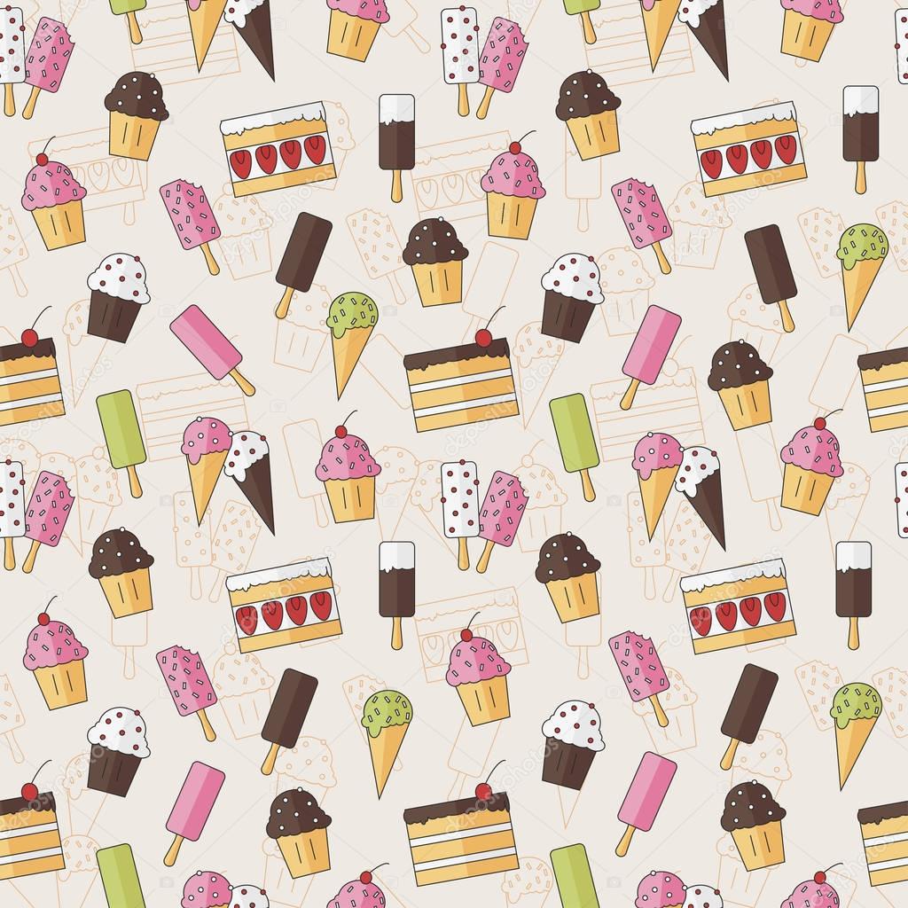 Desserts Ice Cream Wallpapers: Абстрактный бесшовный фон узор с конфеты мороженое и