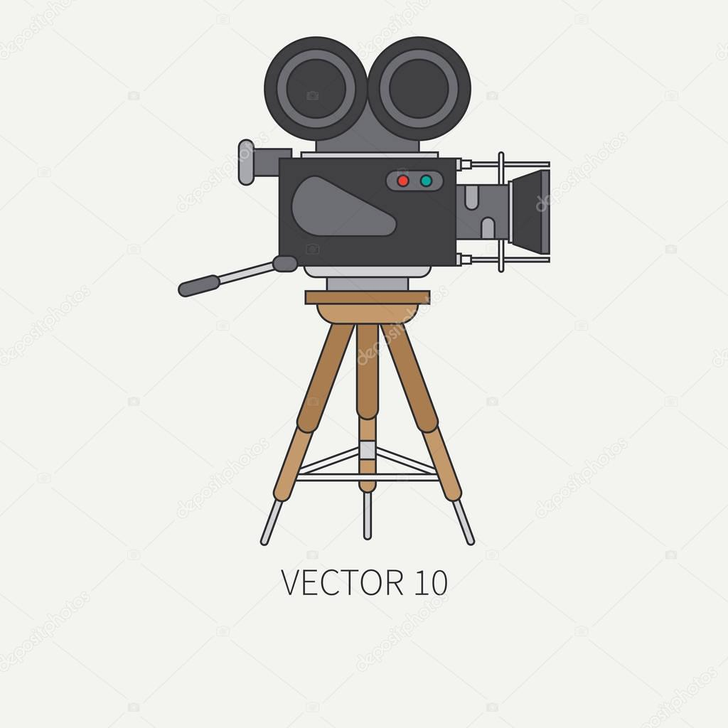 Line Flat Color Vector Icon Elements Of Filmmaking And Multimedia