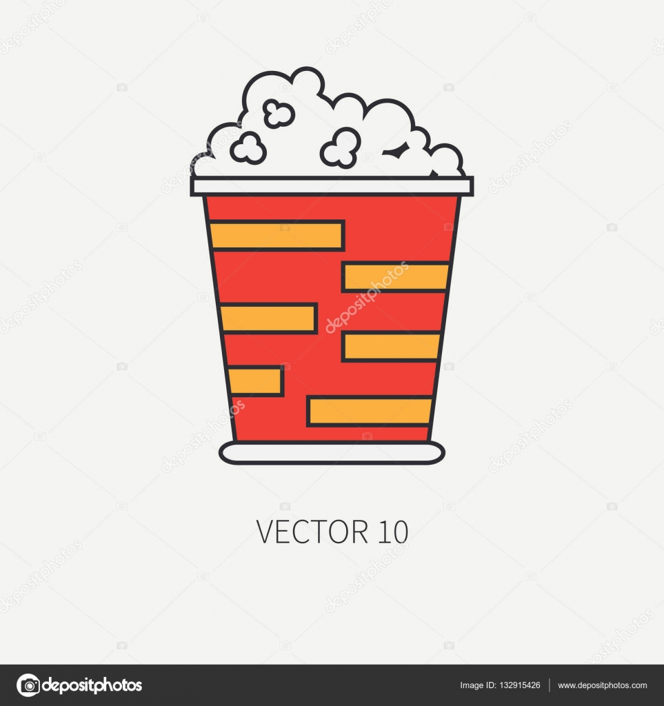 Line Flat Color Vector Icon Elements Of Movie Theater Pop