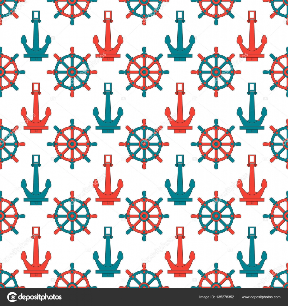 Graphic Texture For Design Wallpaper Nautical Seamless Sea Pattern Cute Marine Background Cartoon Style Vector By Otapunk