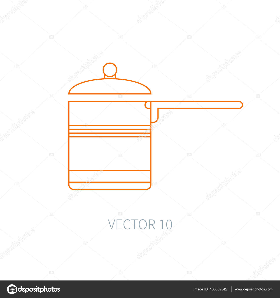 L nea vector plano utensilios de cocina los iconos for Planos de cocina en linea