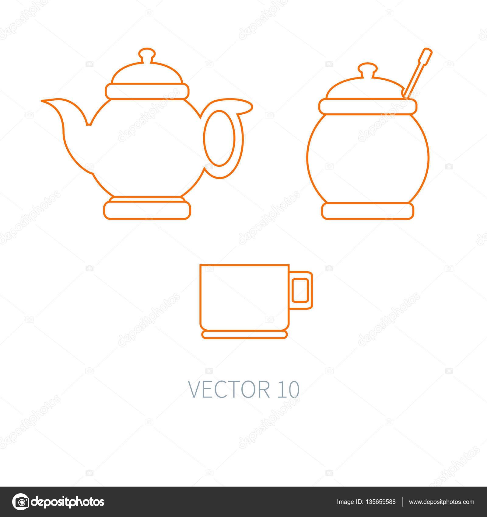 riga icone piane di vettore utensili da cucina zuccheriera teiera tazza strumenti di posate stile cartone animato elemento per il vostro disegno e