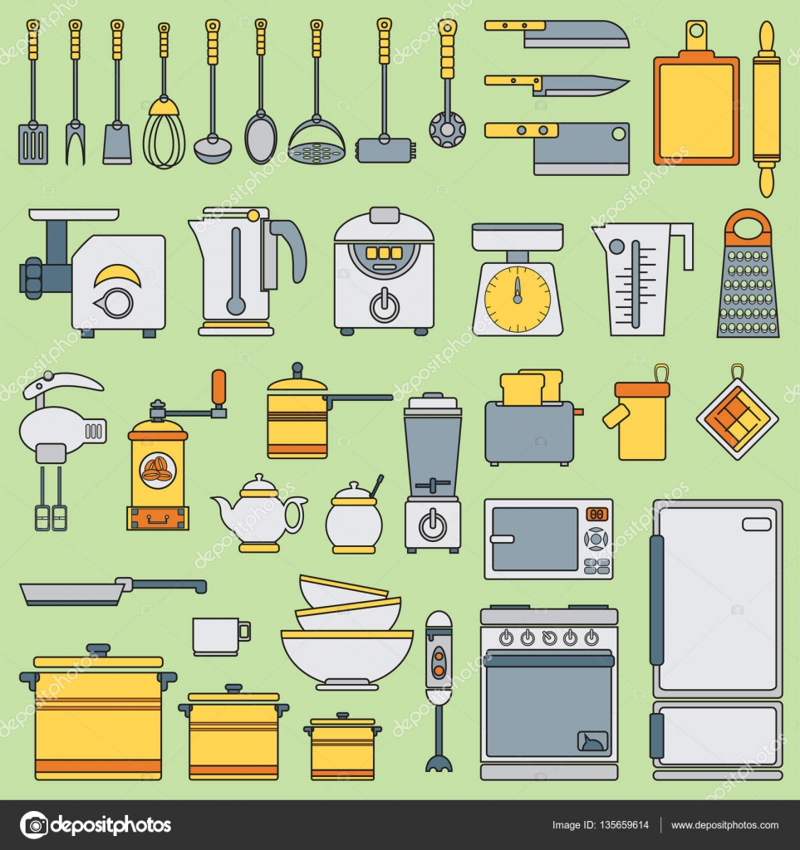 L nea vector plano utensilios de cocina set de iconos for Programas de dibujo de cocinas gratis