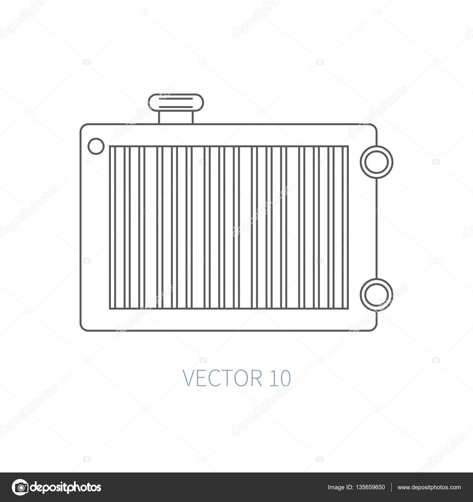 Design of a car radiator - Line Flat Vector Icon Car Repair Part Radiator Internal Combustion Engine Elements Industrial Cartoon Style Illustration Element For Your Design