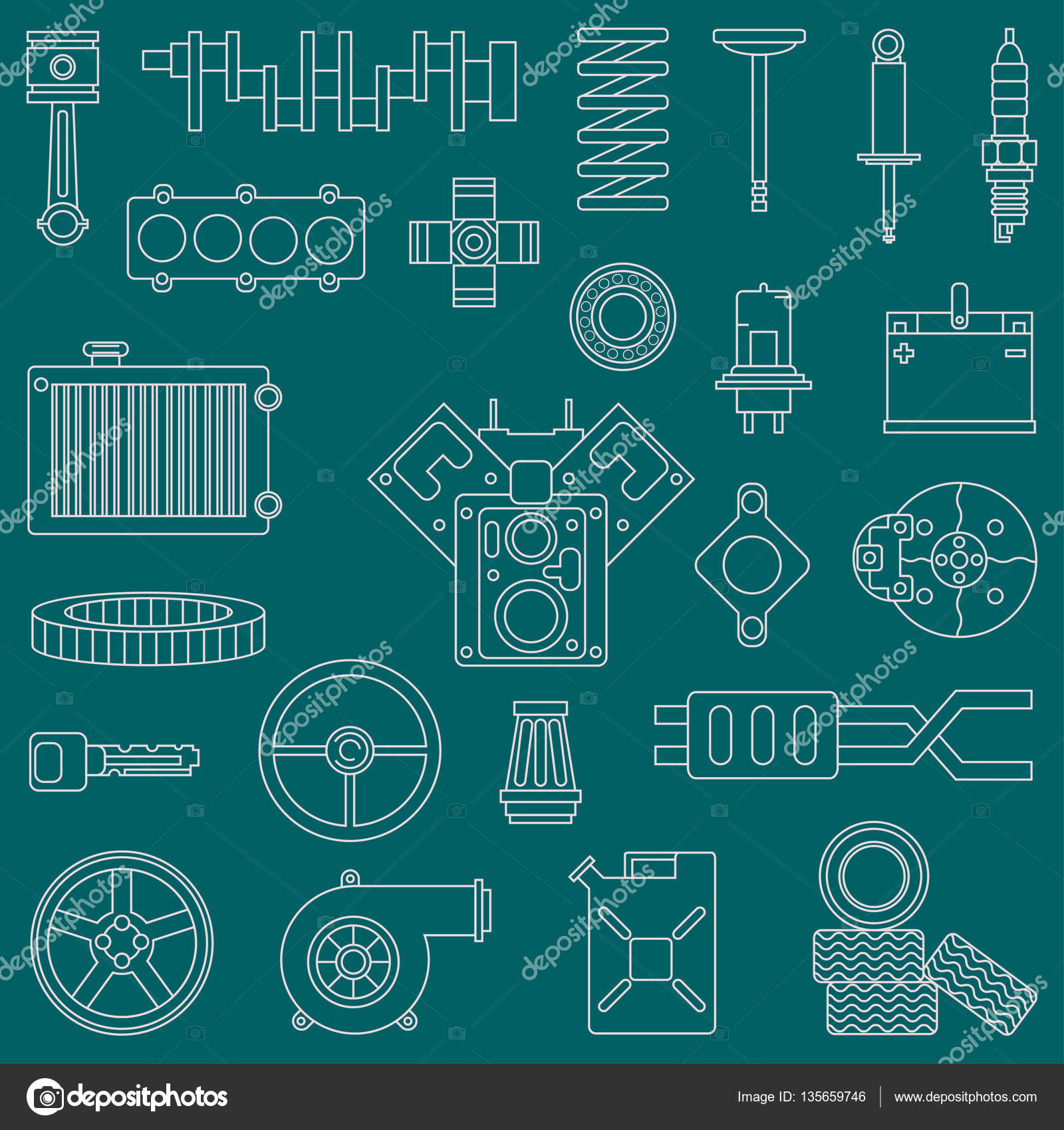Internal Combustion Engine Stock Vectors Royalty Free Diagram Line Flat Vector Icon Car Parts Set With Undercarriage End Elements Industrial
