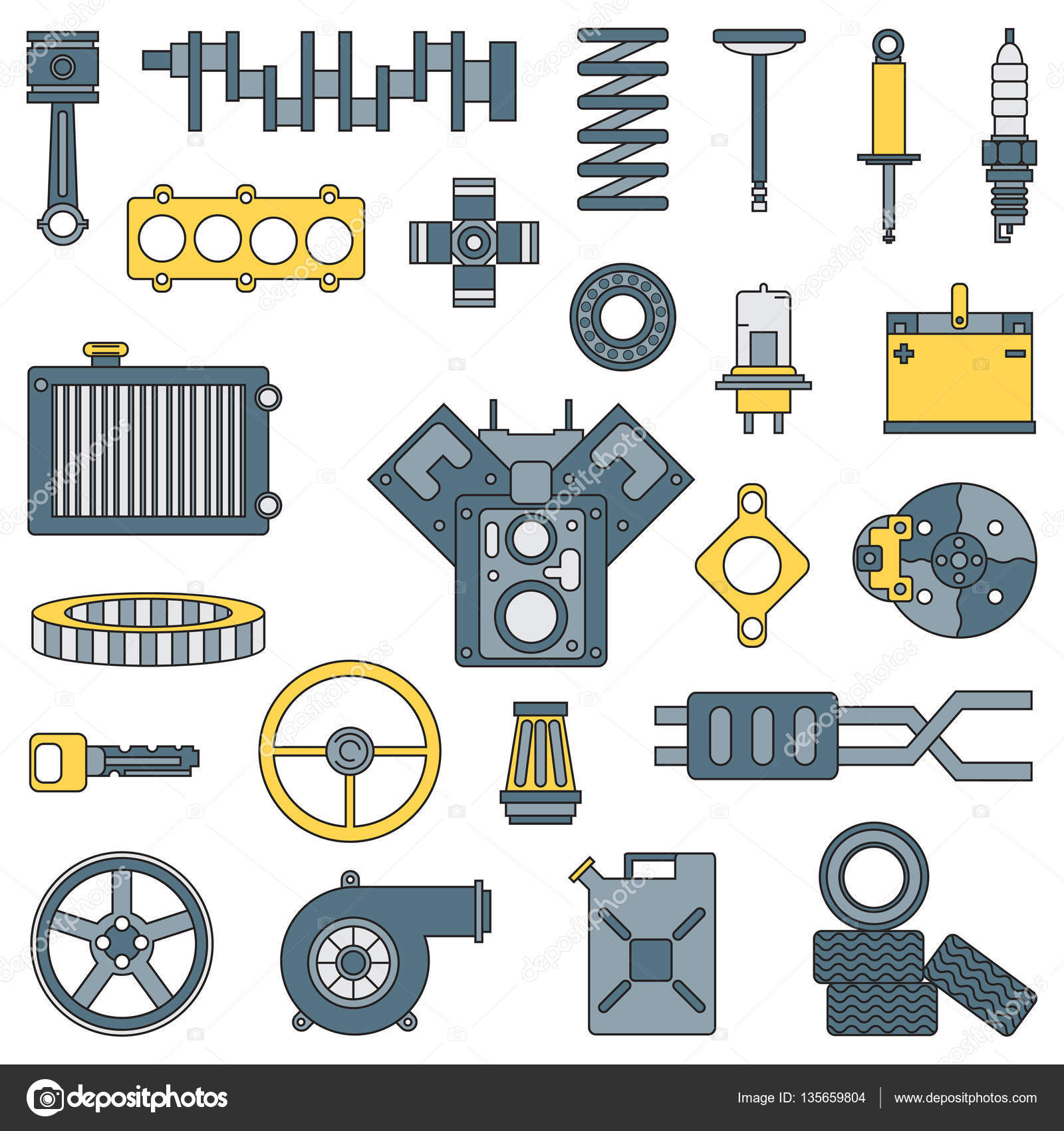 Line Flat Color Vector Icon Car Parts Set With Undercarriage End