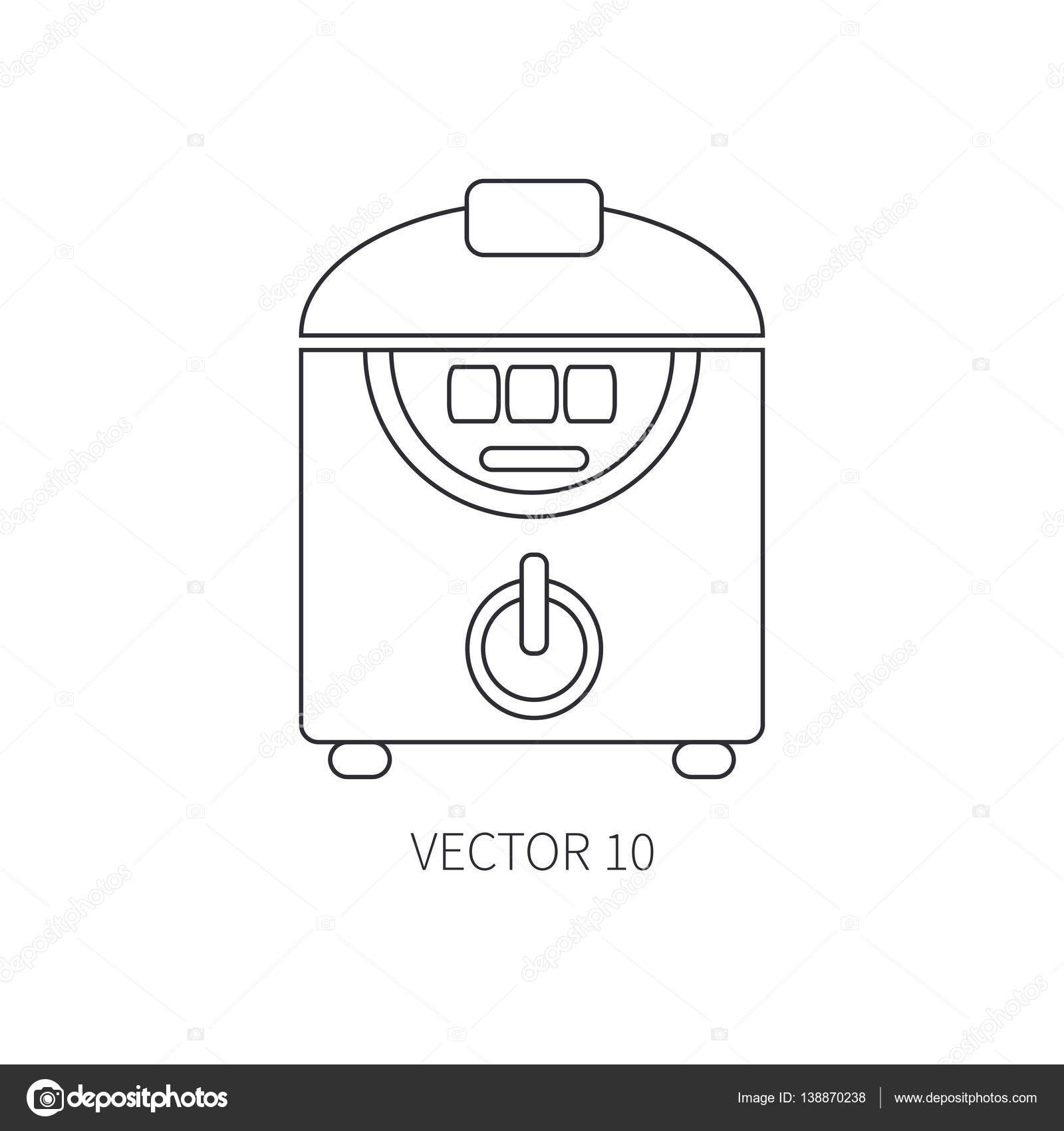 Line flat vector kitchenware icons double boiler Cutlery tools