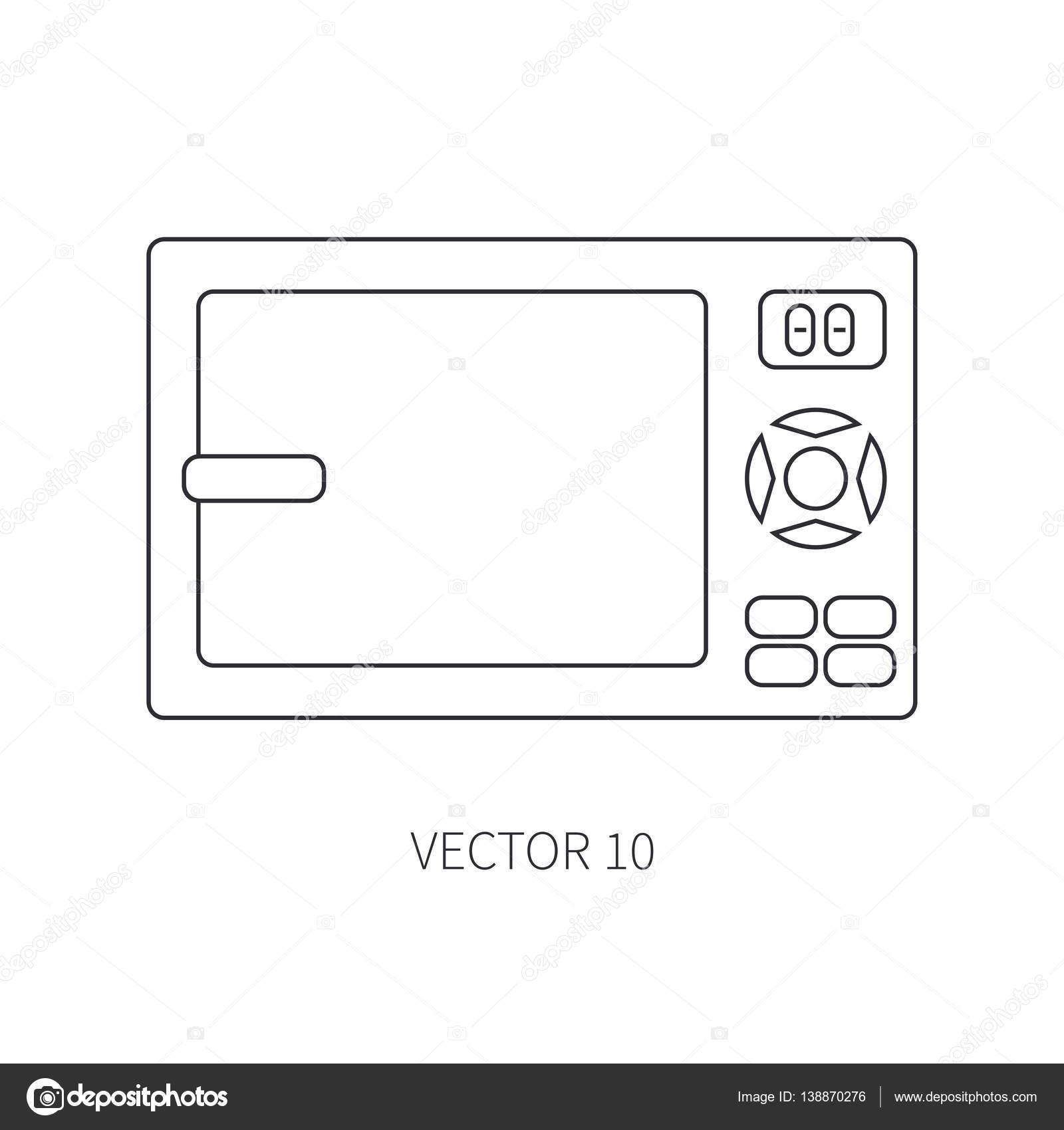 Línea de iconos de vector plano utensilios de cocina - microondas ...