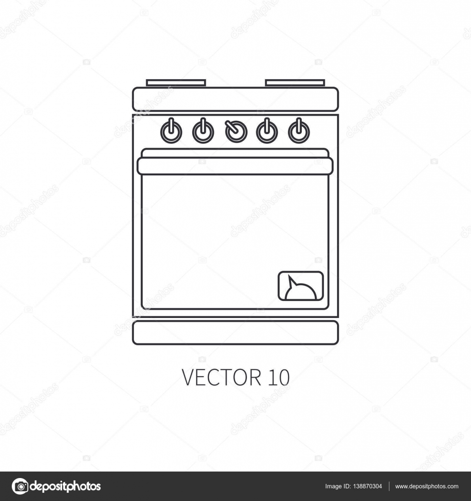 Línea de iconos de vector plano utensilios de cocina - horno ...
