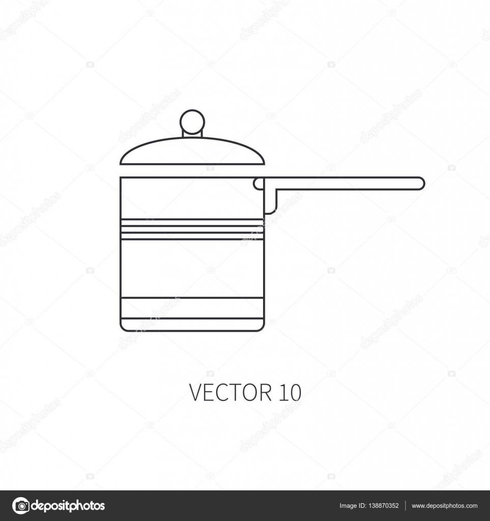 Línea vector plano utensilios de cocina los iconos - cacerola, olla ...