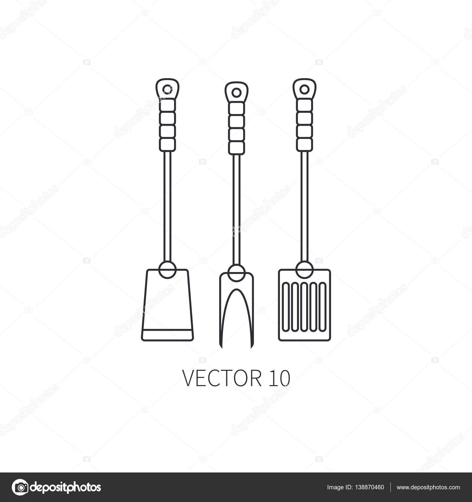 Línea vector plano utensilios de cocina los iconos tenedor, fúrcula ...