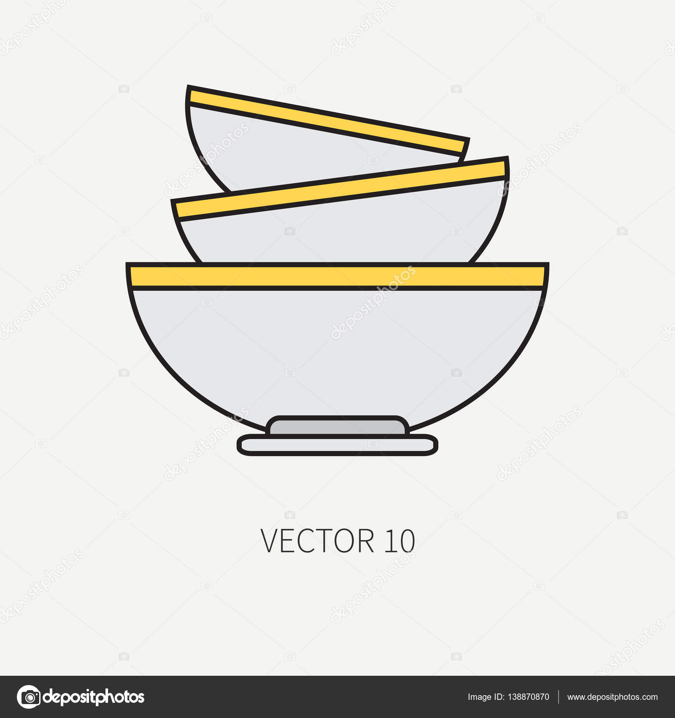 Iconos para utensilios de cocina vector de línea plana color - taza ...