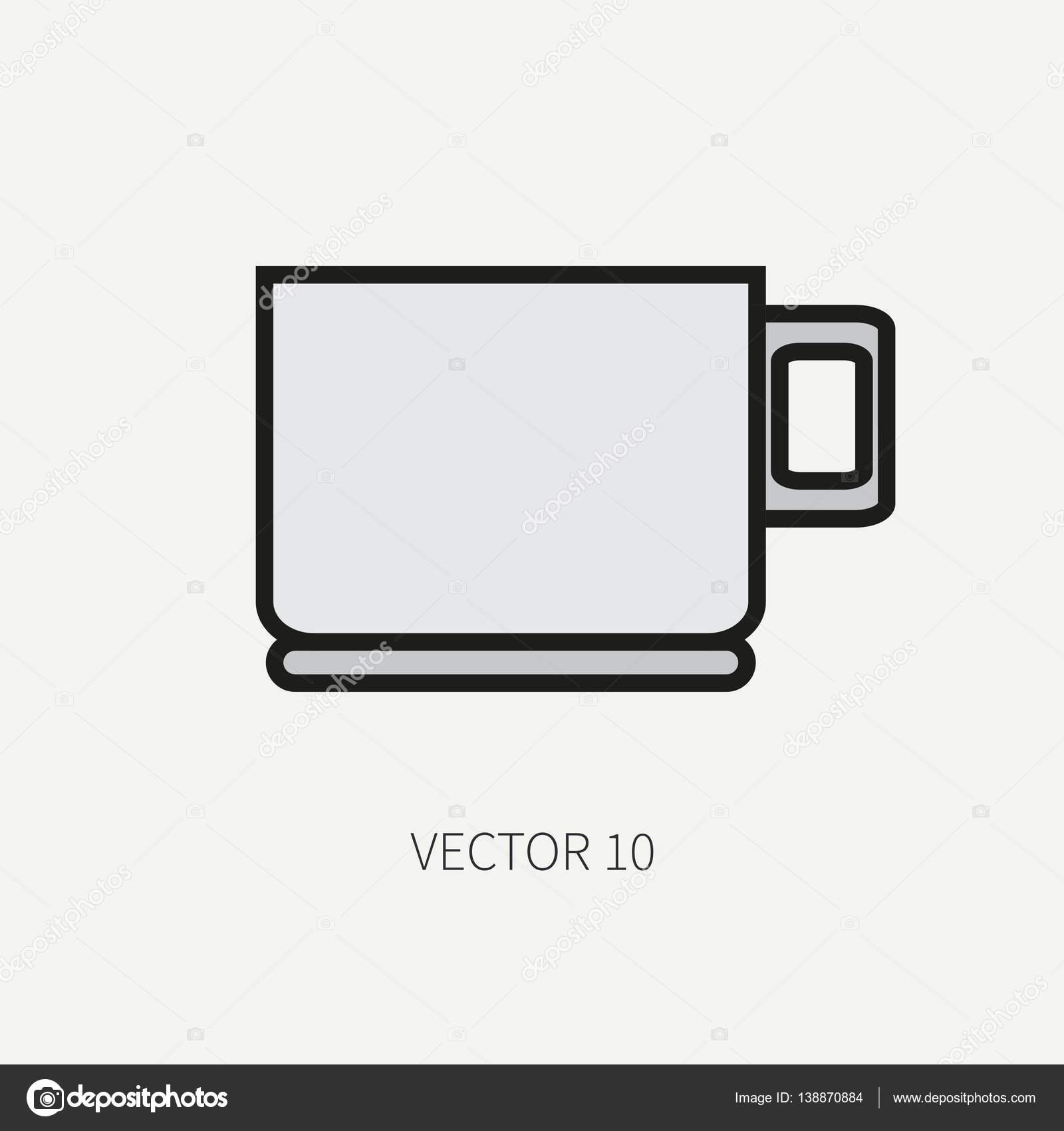 Línea de iconos de utensilios de cocina de color plano vector - taza ...