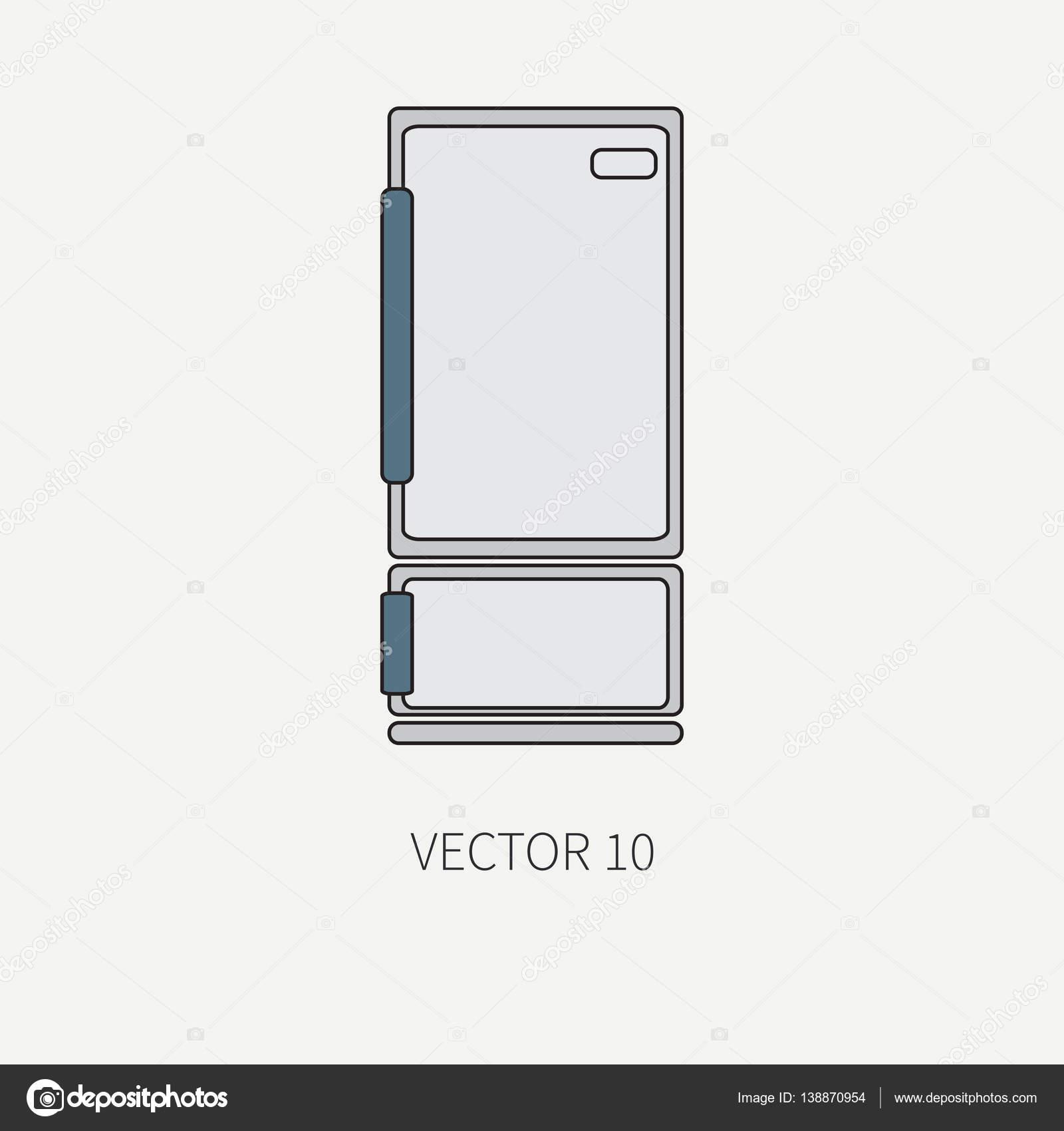 Línea color vector iconos de utensilios de cocina - Refrigerador ...