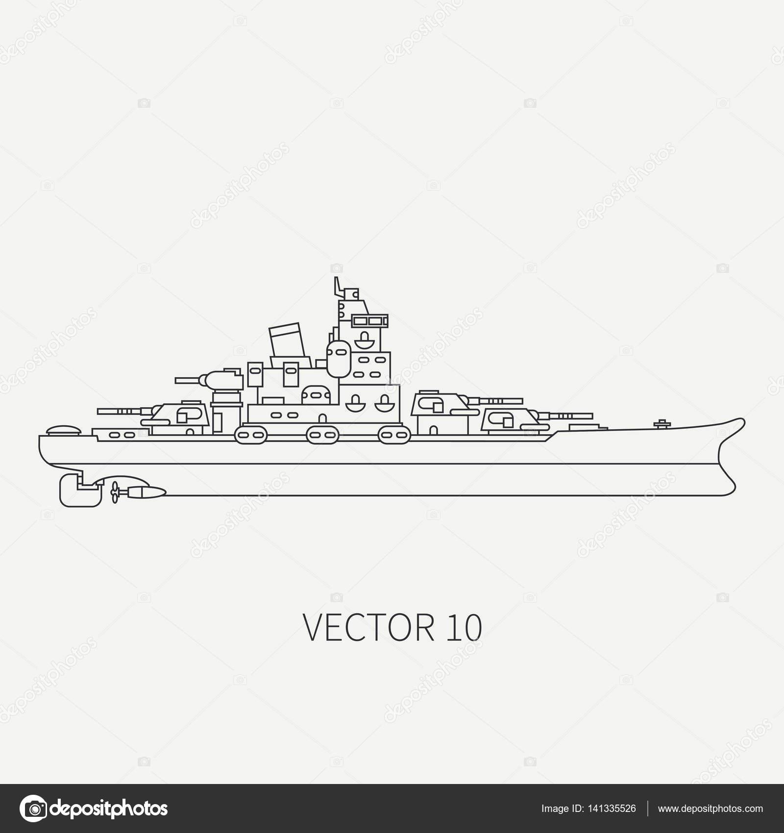 çizgi Düz Vektör Retro Simgesi Deniz Savaş Gemisi Korkusuz Savaş