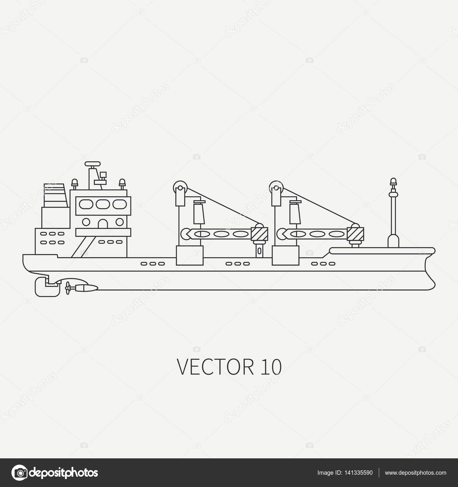 Linha plana vector cone retr recipiente navio de carga frota linha plana vector cone retr recipiente navio de carga frota mercante desenho animado estilo ccuart Gallery