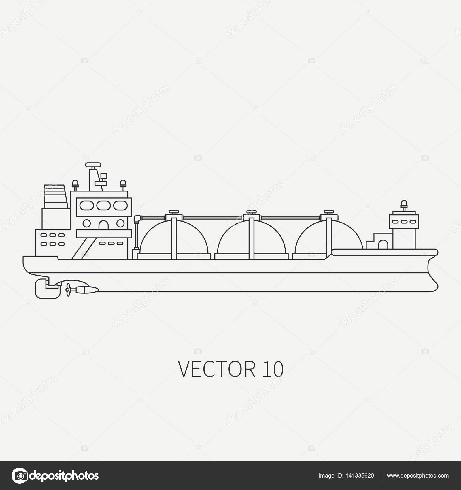 Line flat vector retro icon ocean tanker ship. Merchant fleet ...