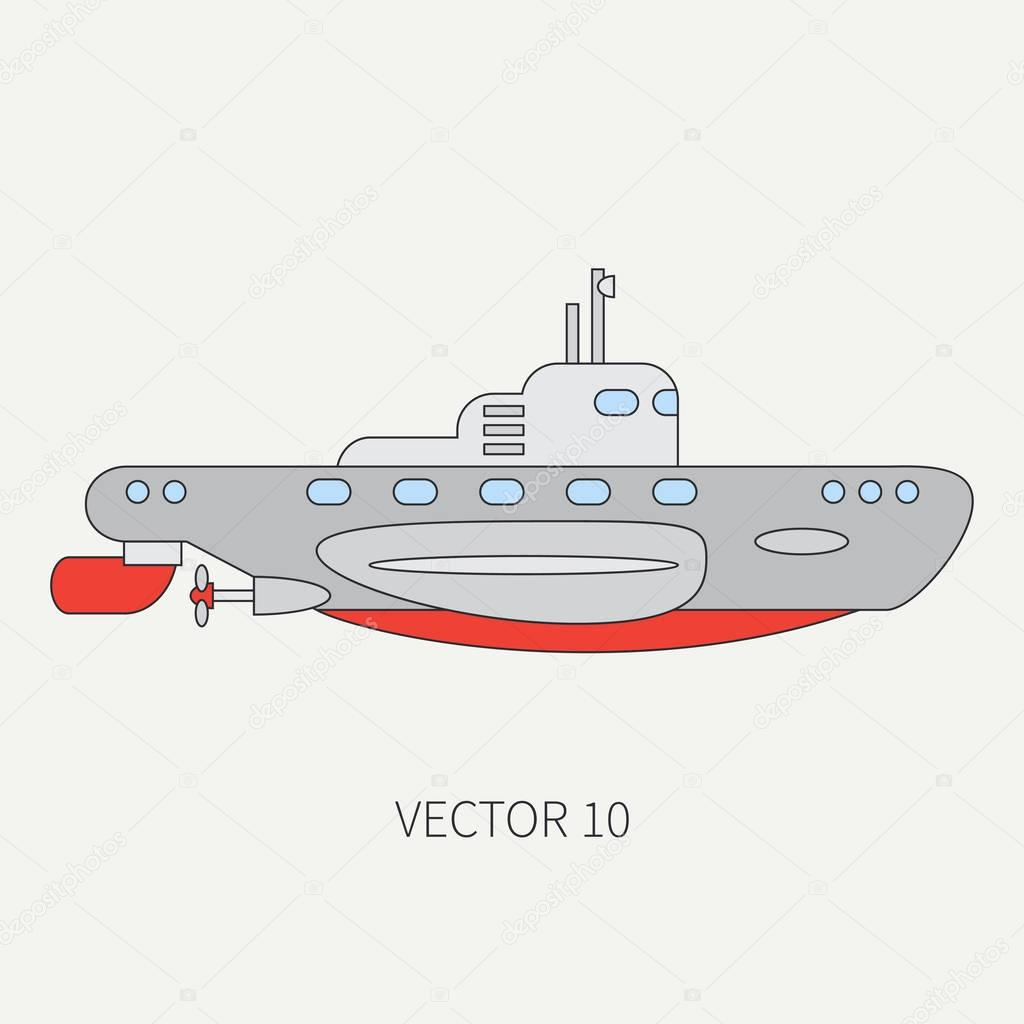 Line flat vector color icon naval submarine. Dreadnought warship. Cartoon vintage style. War. Navy. Ocean. Sea. Torpedo. Armor. Squadron. Captain. Simple. Illustration and element for your design.