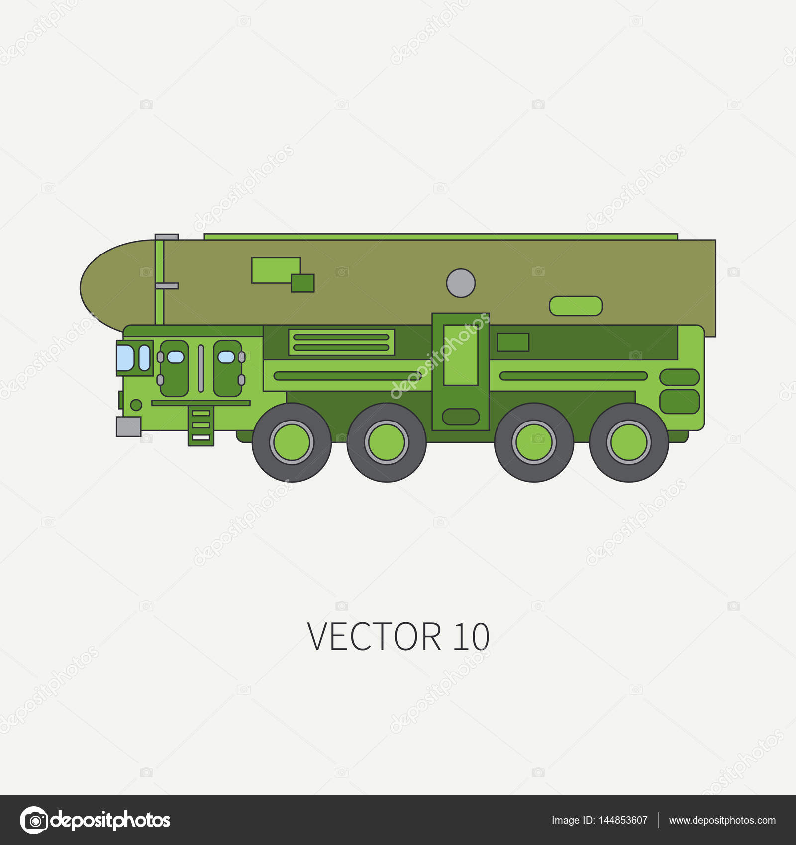 Line flat color vector icon armored reactive systems of salvo army ...