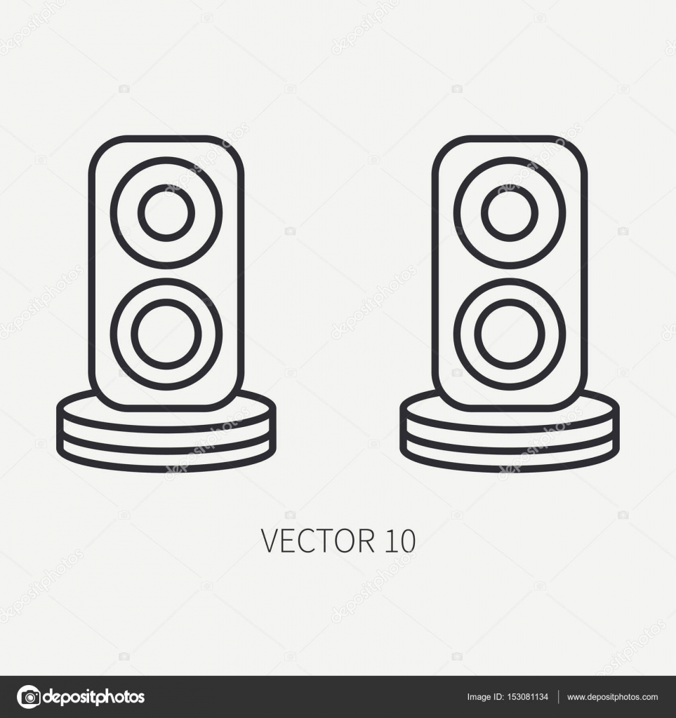 line flat vector computer part icon audio speakers  cartoon style  digital gaming and business