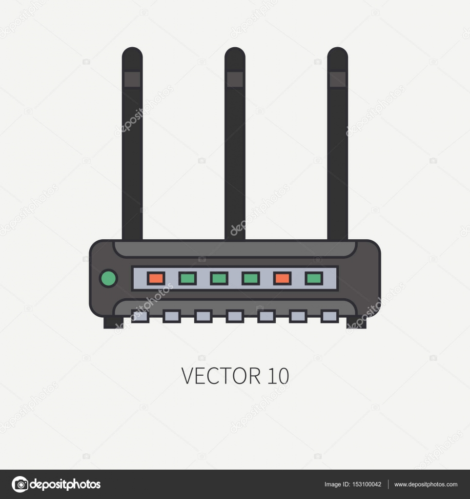 Línea plana color vector computadora parte icono router inalámbrico ...