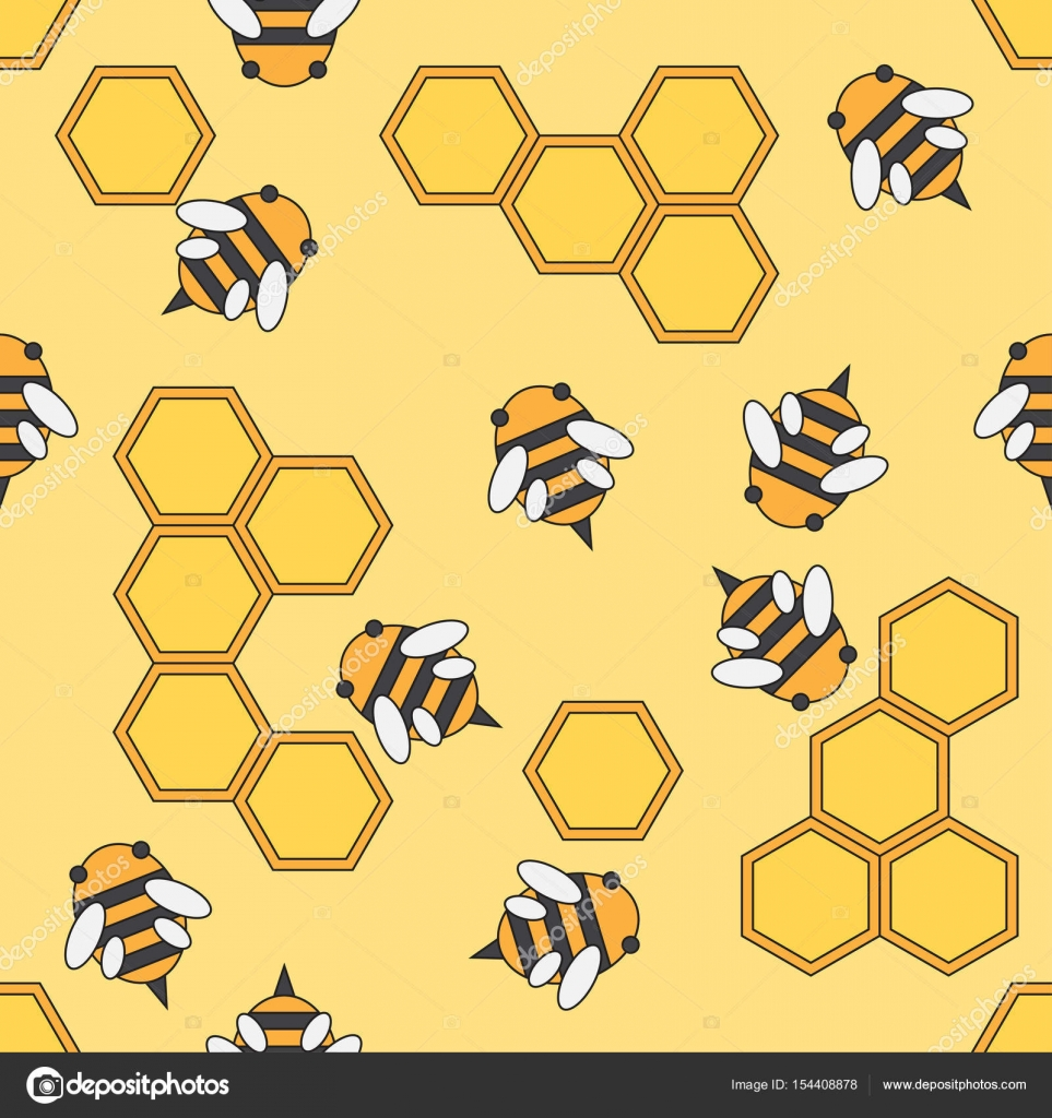 Fabric Textile Beekeeping Pattern Cute Doodle With Bees And Honeycombs Vector Illustration Element For Design Wallpaper By Otapunk