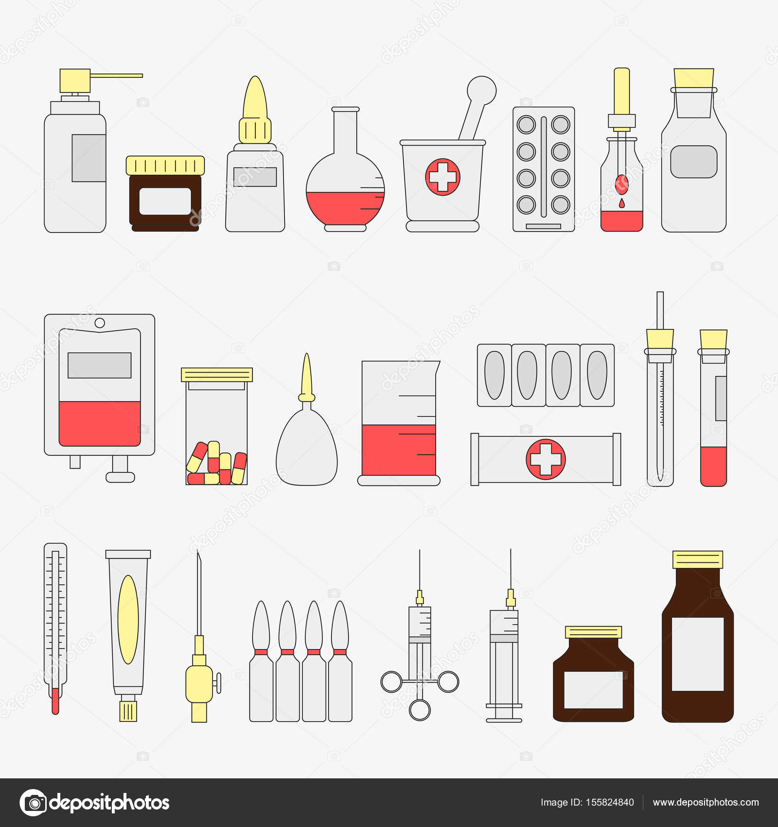 Trendy color flat medical and health care icon set medicine signs flat color medical and health care icon set medicine signs and symbols vector illustration equipment design element collection artoon style simple biocorpaavc Choice Image