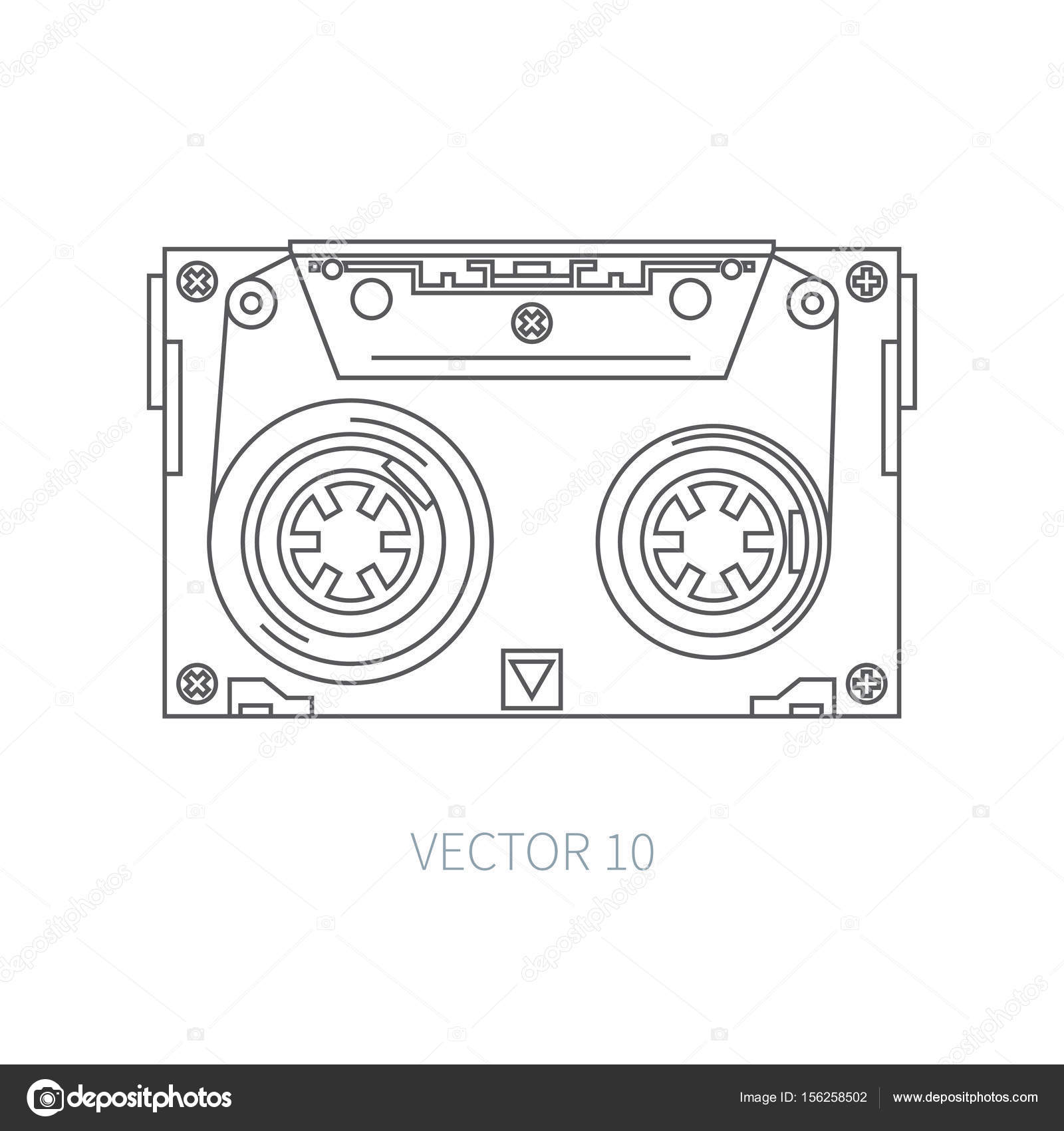 Line Flat Vector Icon Audiocassette Hipster Style Audio Music