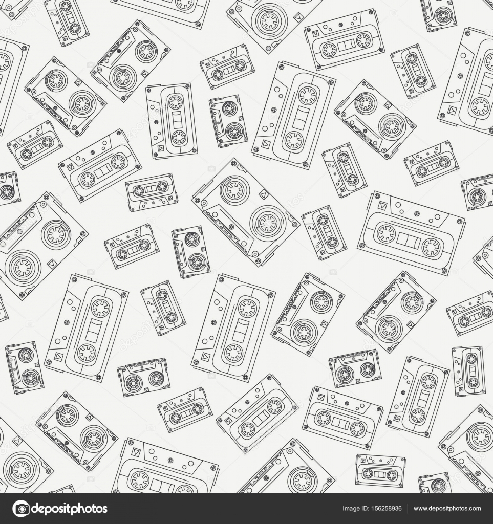 Seamless Background Pattern Hipster Style With Audiocassette Music