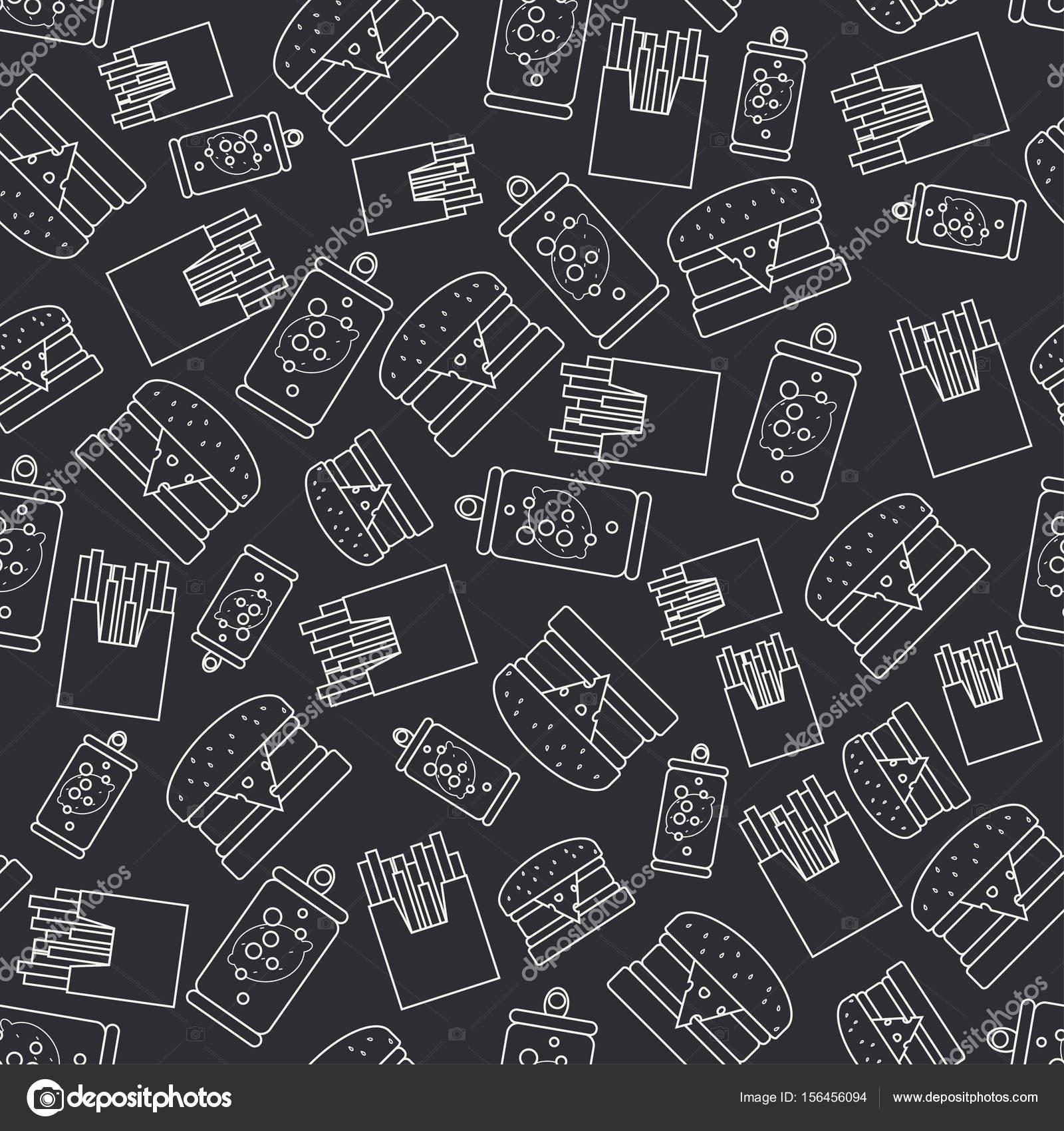 Abstract Seamless Background Pattern In Hipster Style With Fastfood