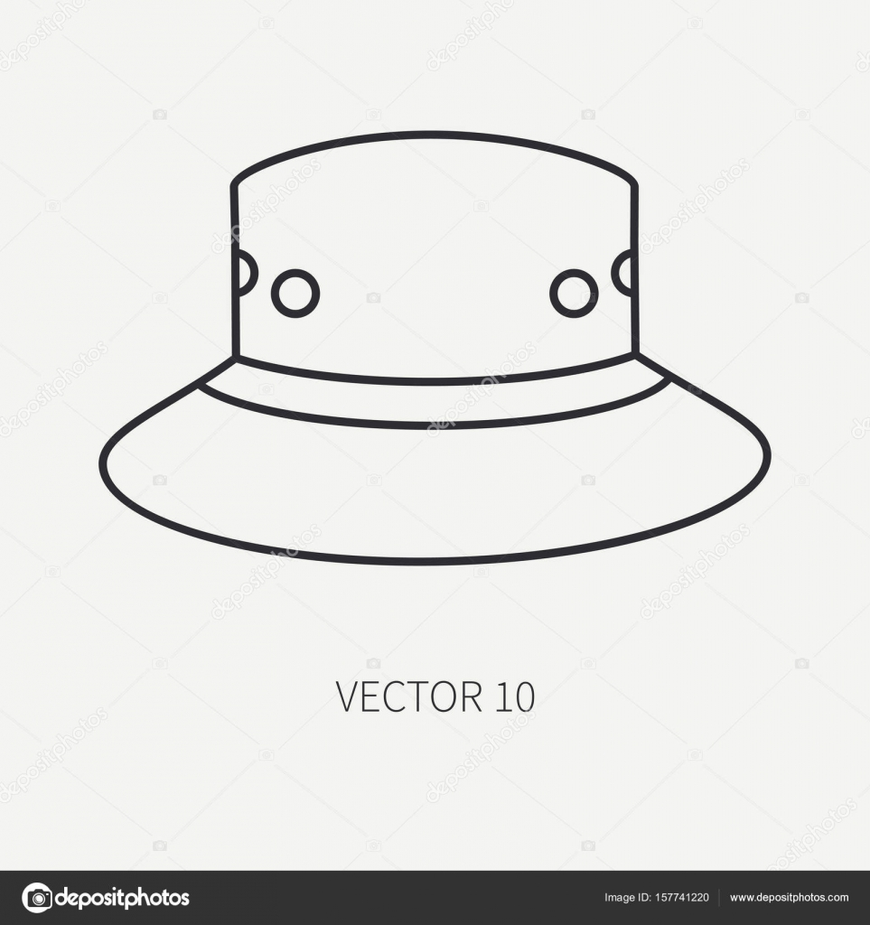 5f9f7f16b1756 Line flat vector hunt and camping icon hat