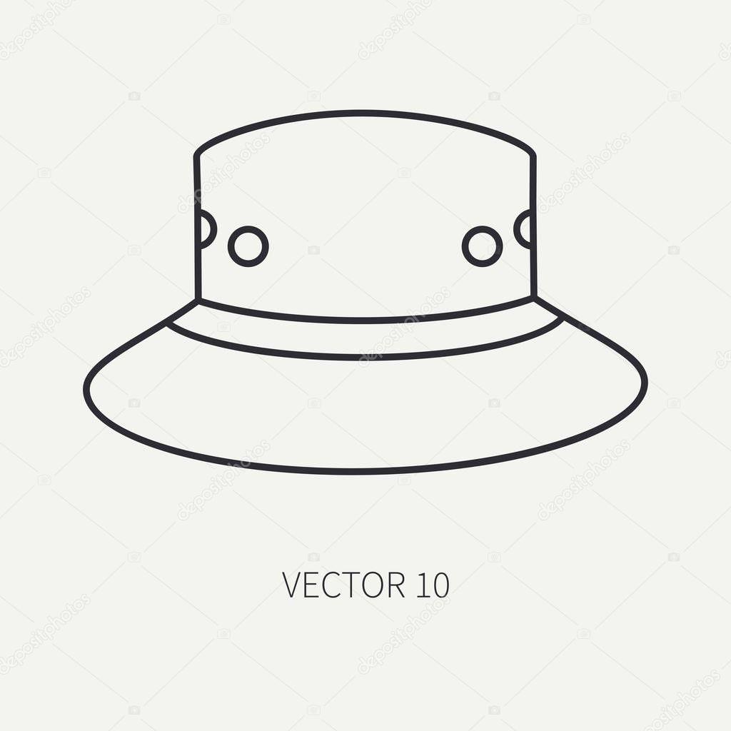 Línea vector plano caza y camping icono sombrero dbe2fad47a8