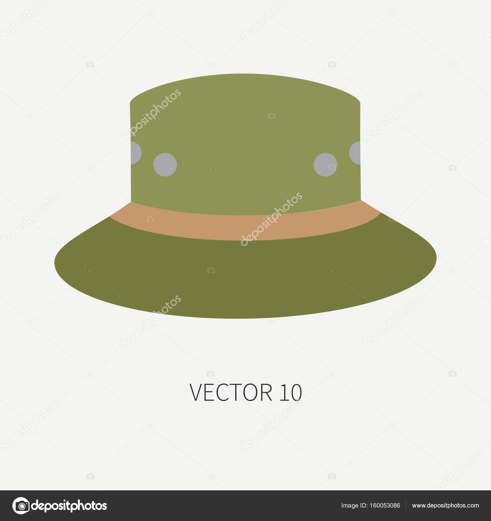 Línea azulejo color vector caza y camping icono sombrero cc5a7edf647