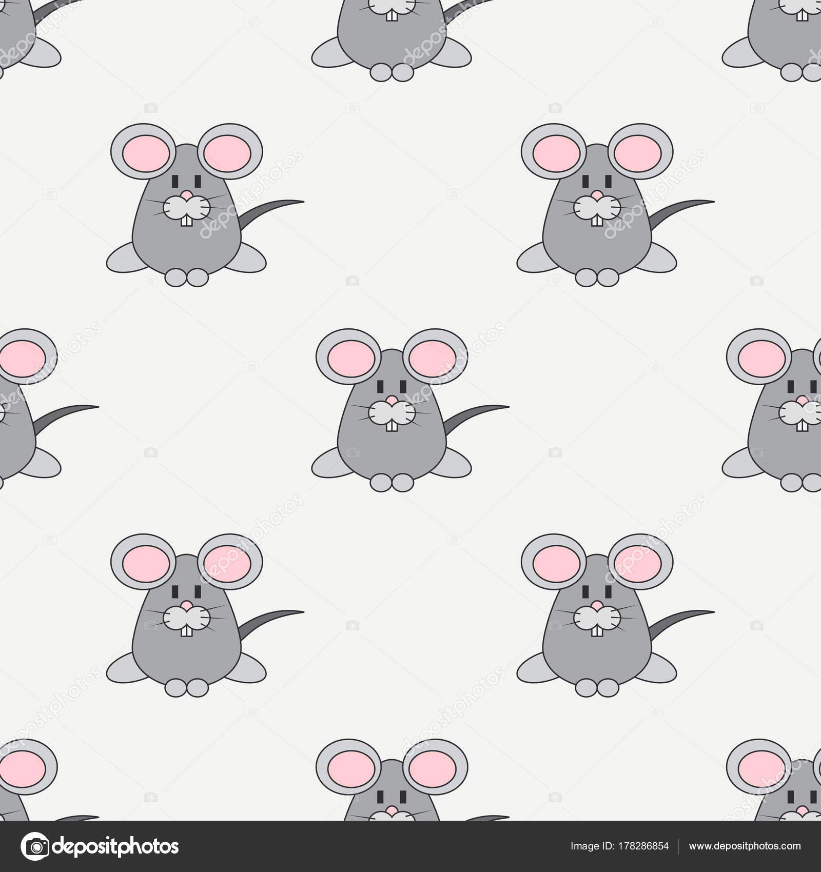 Plano Linea Color Vector Patron Lindo Animal Para Bebes El Raton