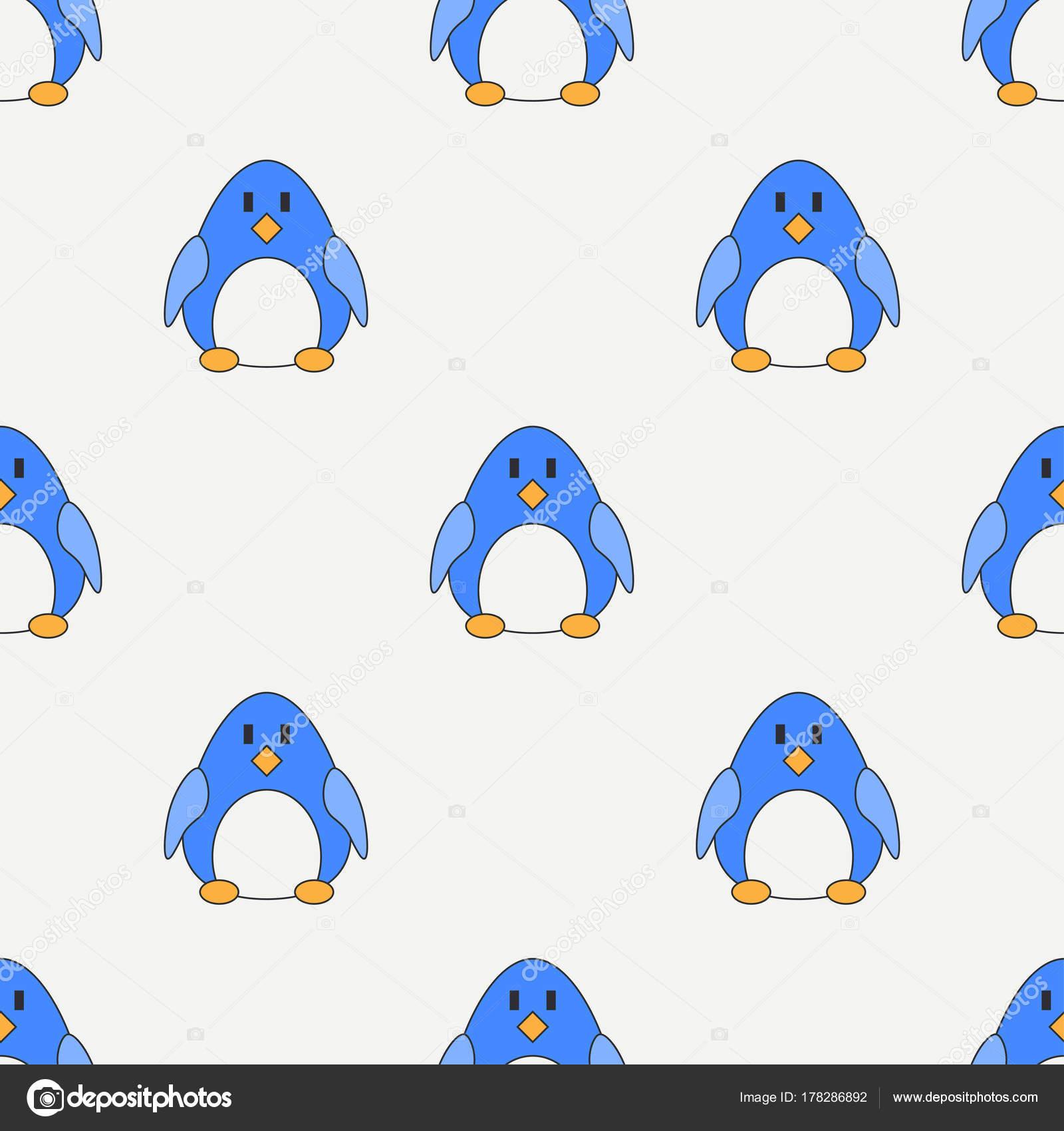 a8a0b75ac Línea plana color vector patrón lindo animal para bebes - pingüino. Estilo  de dibujos animados. Doodle de los niños. Infancia. Recién nacido.