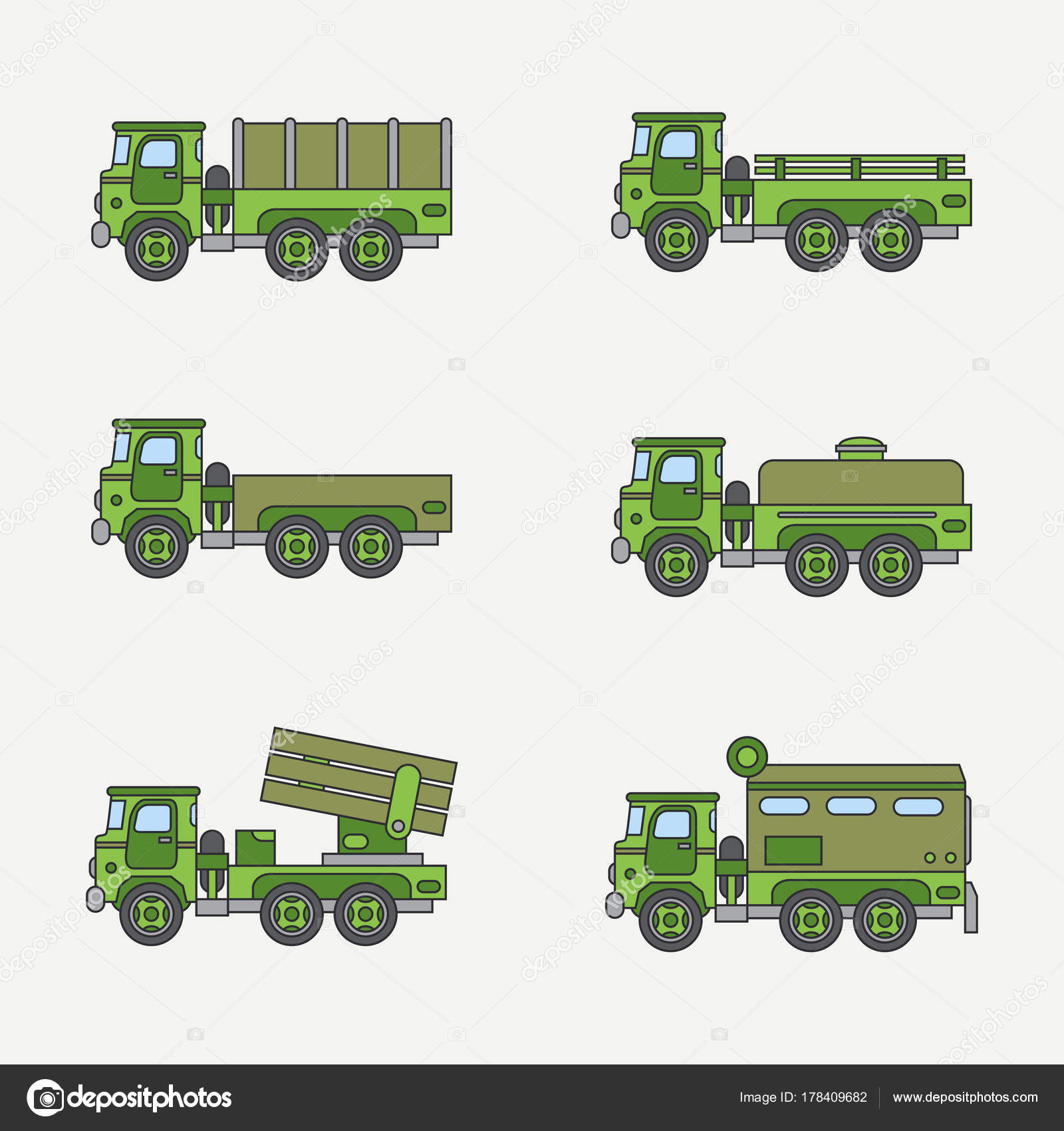Line flat color vector icon set service staff open body diesel army ...