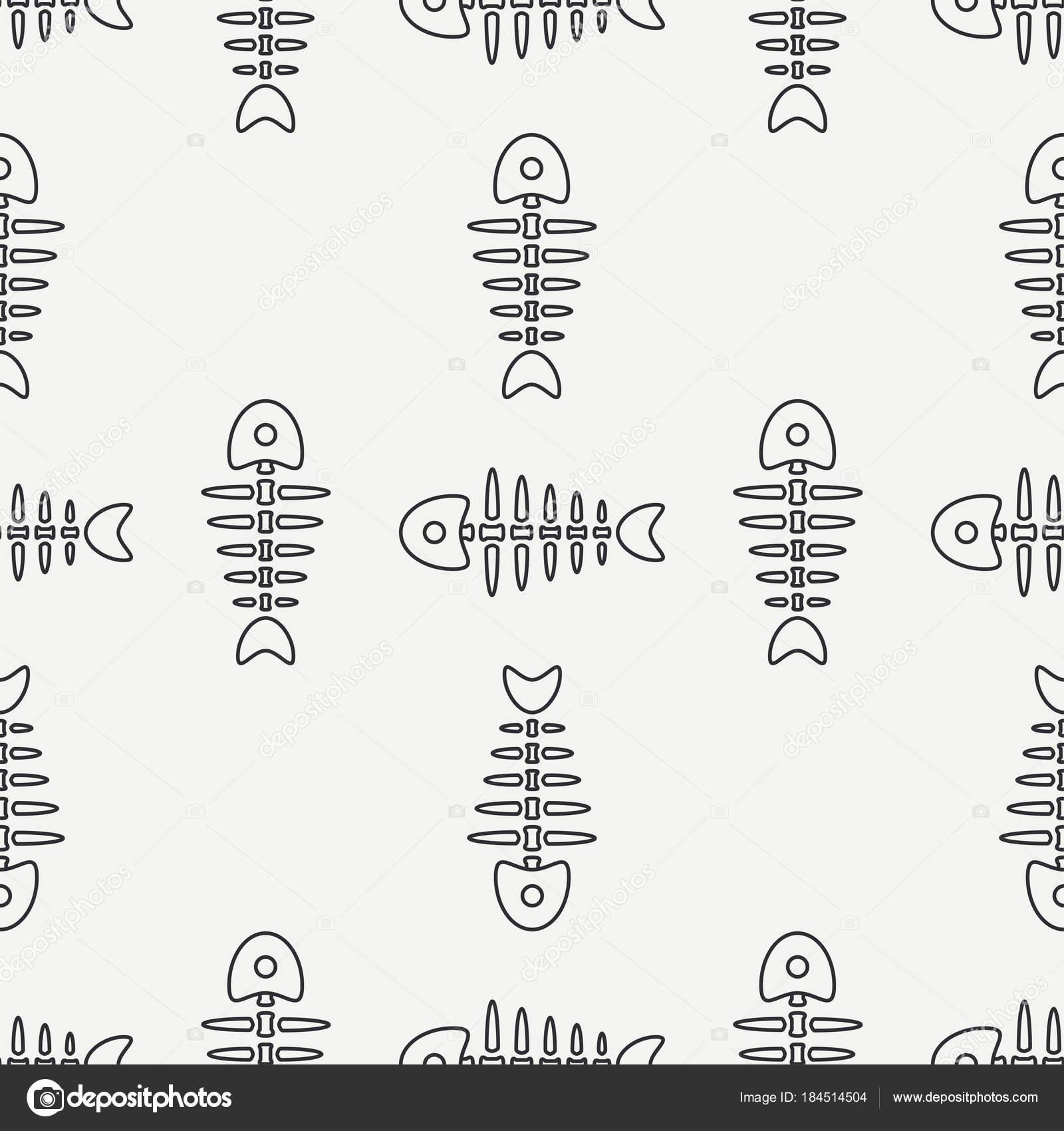 フラット ライン モノクロ ベクターのシームレスなパターン海魚の骨