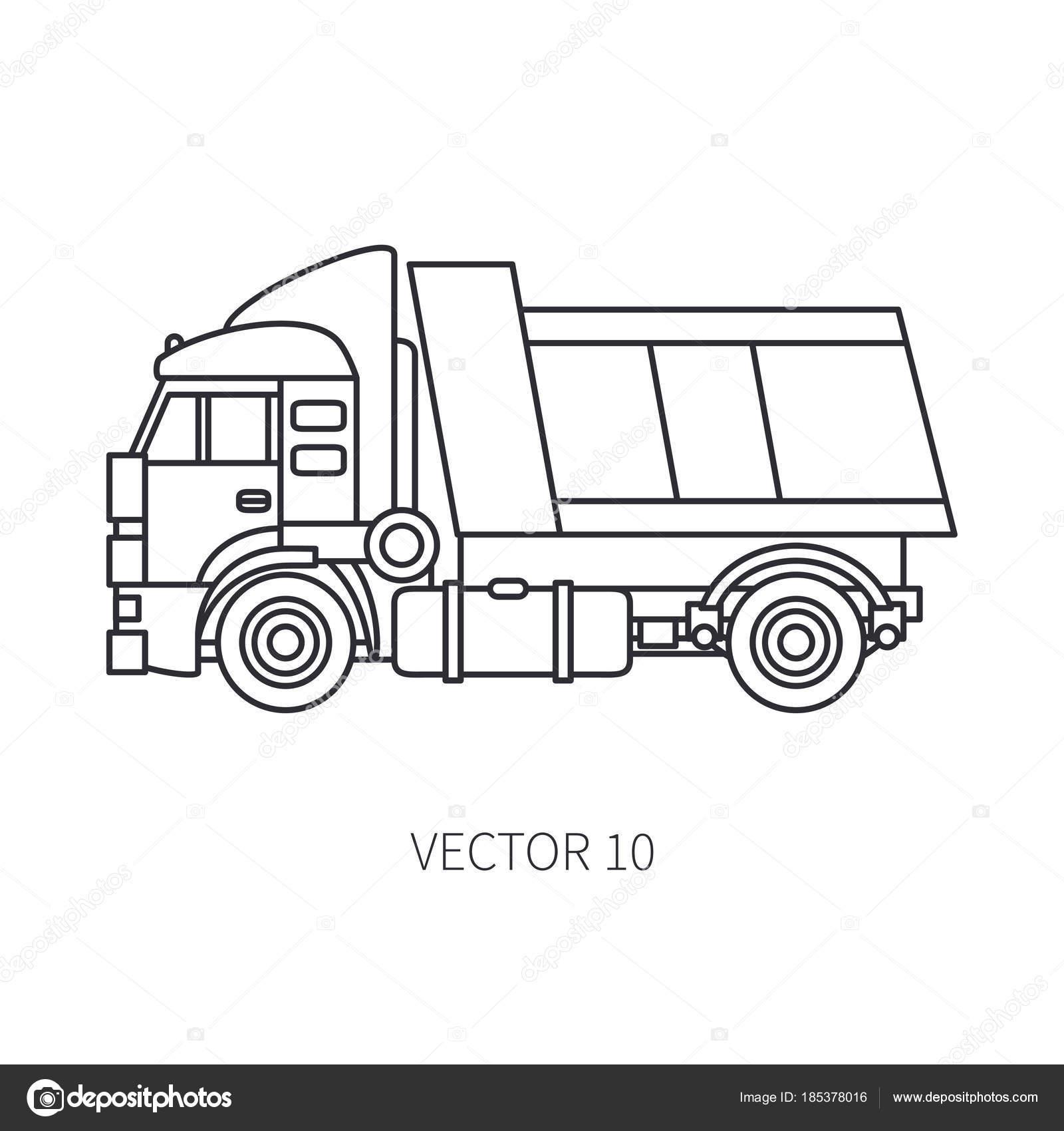 Linea piatta vettoriale icona costruzione macchine camion for Programma per disegnare arredamento