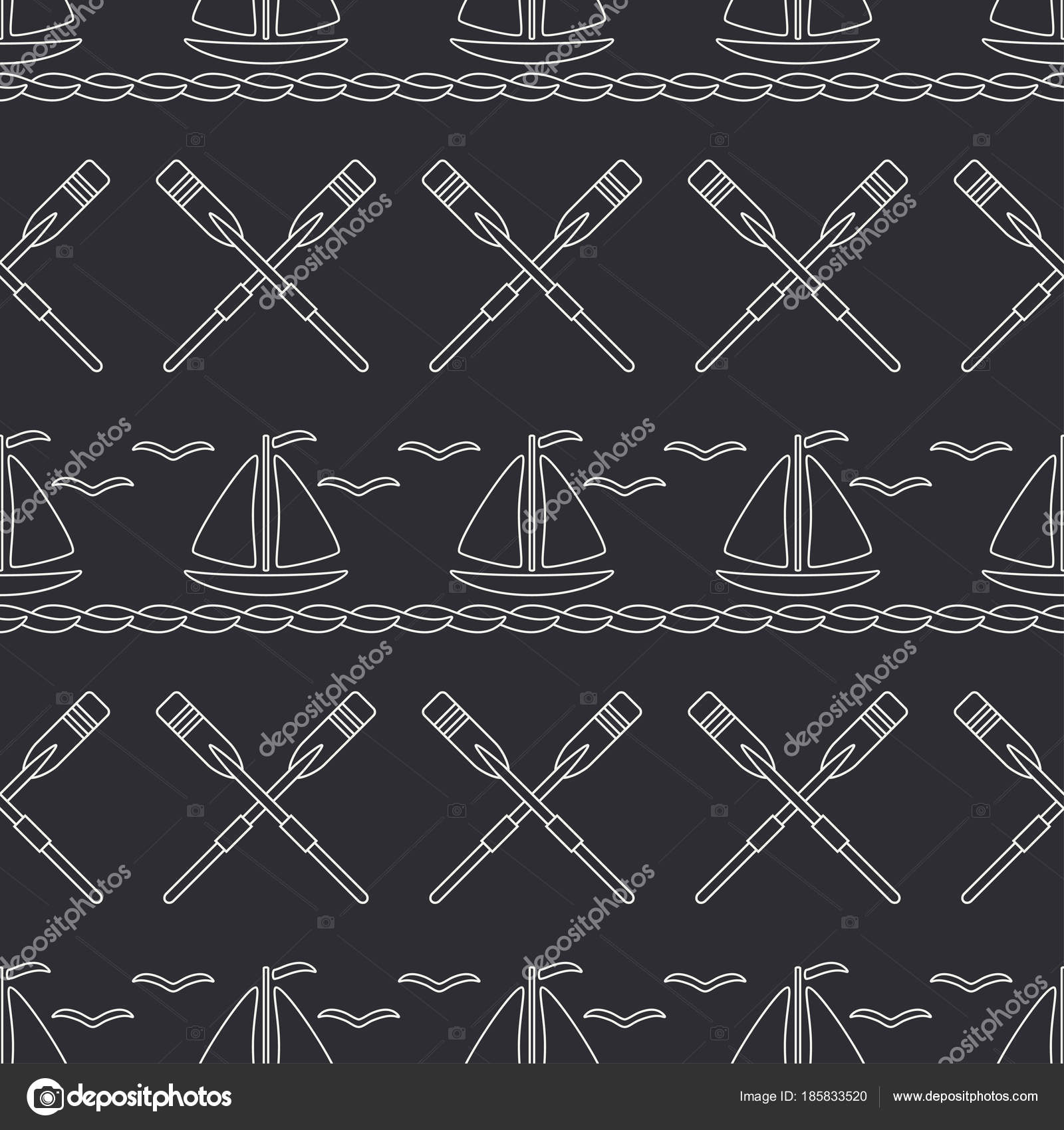 Flat line monochrome vector seamless pattern ocean boat with sail