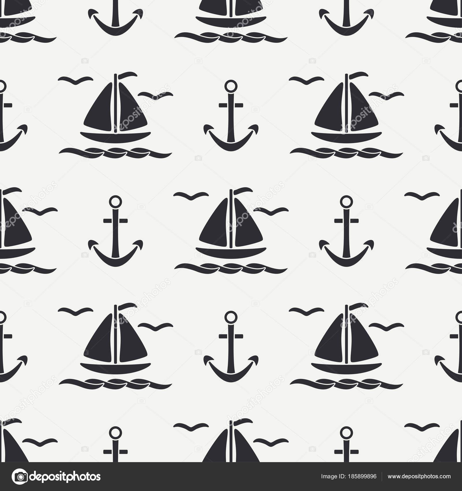Dibujos Anclas De Barcos Línea Plana Monocromo Vector Patrón
