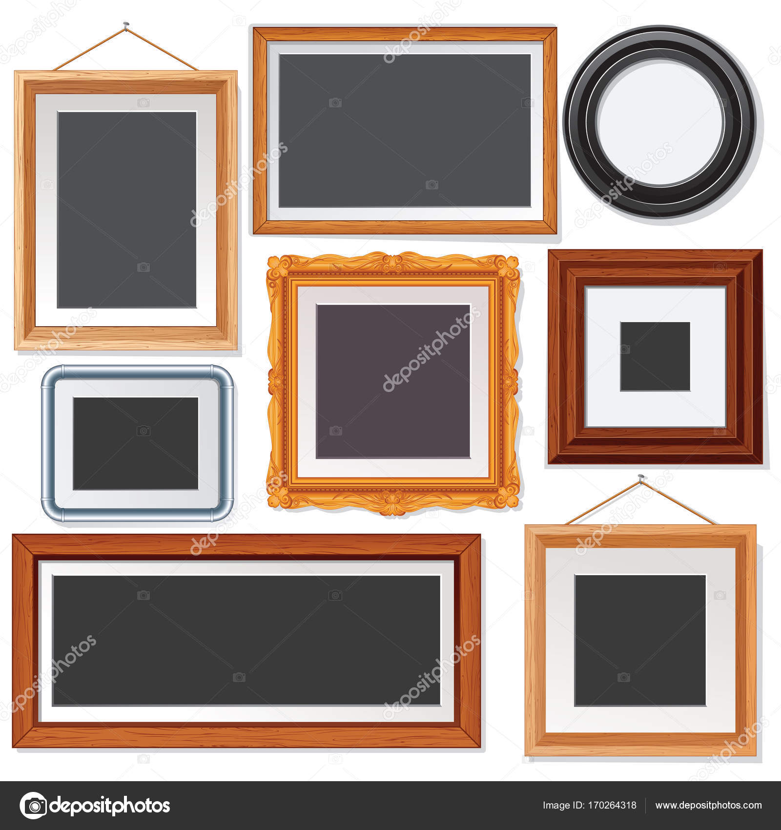 Verschiedenen Bild und Bilderrahmen Onwhite Wand — Stockfoto ...