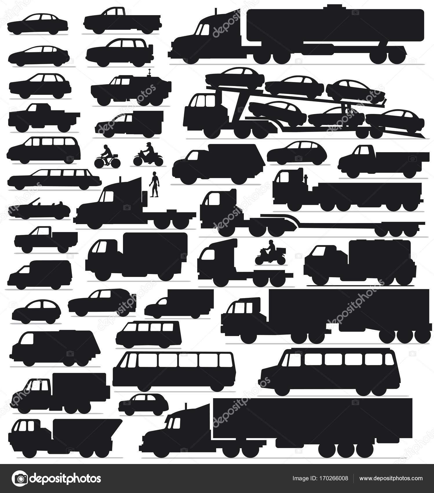 Transport, Cars Silhouettes. Car Icon Set — Stock Photo © PILart ...