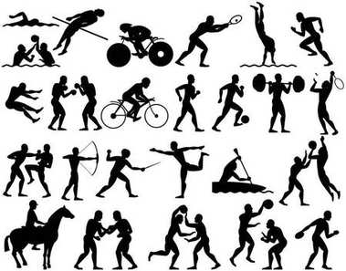 Silhouettes of Summer Sport Athletes. Set