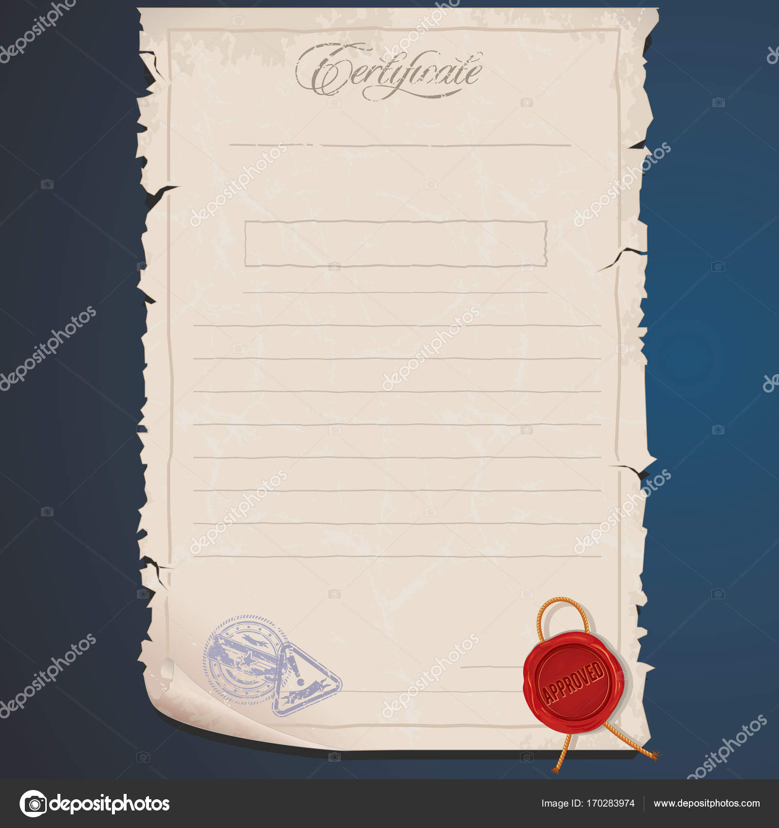 old paper certificate template editable image stock photo
