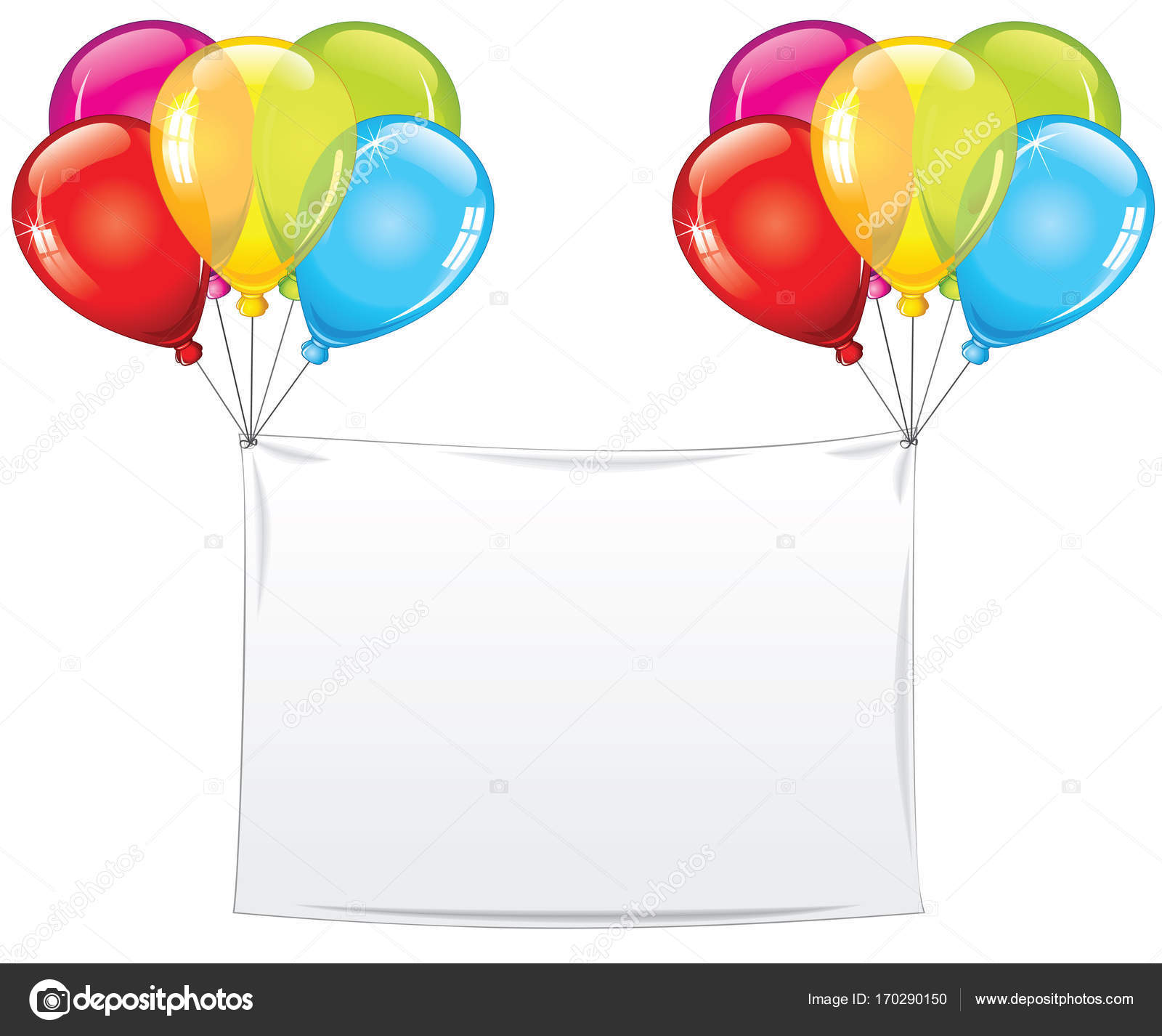 Blank Holiday Birthday Banner With Balloons Stock Photo